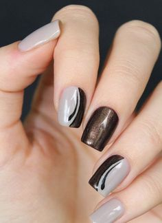 nails nails, grey nail art et brown nail art Brown Nail Art, Grey Nail Art, Gray Nails, Glitter Nail Art, Brown Nails, Black Nail, Pink Nails, Pink Toes, Brown Art
