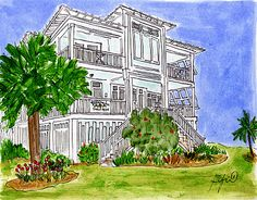 Fifi Flowers paints Paula Deen's Tybee Island cottage Y'all Come Inn.  Been there...it's real cute!