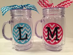 Monogrammed+Mason+Jars+with+Chevron+by+InitiallyUrs+on+Etsy,+$10.00