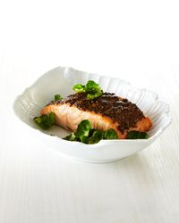 Salmon with Whole Grain Mustard: This has beomce an almost weekly meal stape - probably the easiest salmon recipe I've tried and it comes out excellent every time. (Note: you may need to broil the salmon longer than the recipe calls for - I always do)