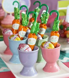 Chocolate Candy Carrots turned into Umbrellas