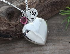 Large lockets, solid sterling silver heart locket for mom. locket necklace personalized with initial & birthstone charms. 20 by MonyArt on Etsy https://www.etsy.com/uk/listing/196730953/large-lockets-solid-sterling-silver