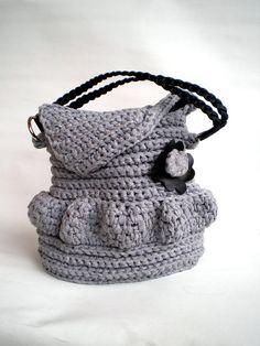 Black Flower Crochet Purse Handmade OOAK crochet Bag by GiuliaKnit, $75.00