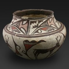 Zuni Heartline Deer Jar. This and more rare and important native american pottery for sale on CuratorsEye.com