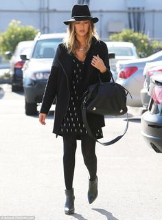 All black everything: Jessica Alba was seen arriving at The Honest Company in Santa Monica...