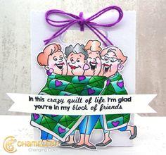 Art Impressions: Ai Girlfriends:Quilt Set (Sku#4544) ... handmade gift bag.