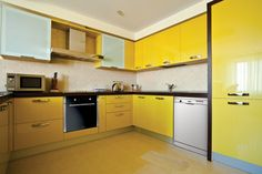 Yellow kitchen will be so much attractive for any home design whether big or small. So, here are some yellow kitchen ideas for designing your kitchen room. Kitchen Design Gallery, Kitchen Designs Photos, Kitchen Pantry Design, Kitchen Tiles Design, Luxury Kitchen Design, Design Your Kitchen, Kitchen On A Budget, Interior Design Kitchen, New Kitchen
