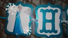 Frozen Birthday Banner, Disney Frozen, Elsa Birthday Banner by OohLaLaPartyDeco on Etsy