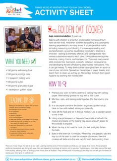 Golden Oat Cookie Baking - At KidStart we give children the very best start in life to help them learn, play and grow. Part of our video and activity sheet series Things We Do At KidStart to show you what we get up to, and how you can do them at home! The videos are also on our YouTube channel as well: YouTube.com/BarnardosKidStart
