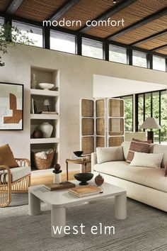 modern living room . modern design. home design. industrial modern home. west elm