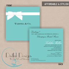 Tiffany blue chandelier bridal shower by mycharmingprints on etsy ribbon tiffanys box inspired bridal or baby shower invitation double sided printable customize the wording filmwisefo