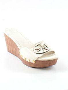 76a64c46a Women Tory Burch Patti White Leather Reva Wedge Platform Heel Shoe Size 9.5  M  ToryBurch