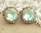 Clear Mint green seafoam Crystal stud Petite vintage earring - 14k 1 micron Thick plated gold post earrings real swarovski rhinestones .