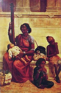 Reprints of Raja Ravi Varma Paintings: A Poor Gypsy Family Sitting by the Street