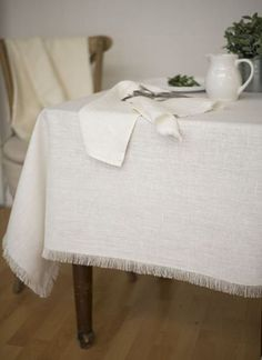 Barra White Linen Tablecloth - Home decor and table linen ideas to meet your individual interior decorating style. Perfect for your Farmhouse, Rustic, or French Country style. Orders over $100 ship free.