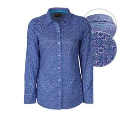 WRANGLER LADIES ANGELINE PRINT SHIRT $94.95 This eye catching deep blue shirt is sure to be a stand out the next time you're out on the town or chasing barrels and cows.