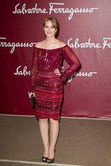 Leighton Meester posed at the Salvatore Ferragamo Resort collection show in Paris.
