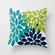Pillow Cover with Insert Teal Lime Navy Flower by TRMDesignHome, $33.00