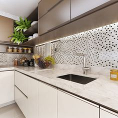 Kitchen Cabinets And Backsplash, White Kitchen Cabinets, Kitchen Cabinet Design, Kitchen Tiles, Kitchen Dining, Kitchen Decor, My Home Design, House Design, Concrete Interiors