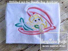 Mermad in Shell Satin Stitch Outline Embroidery Design: Jazzy Zebra Designs