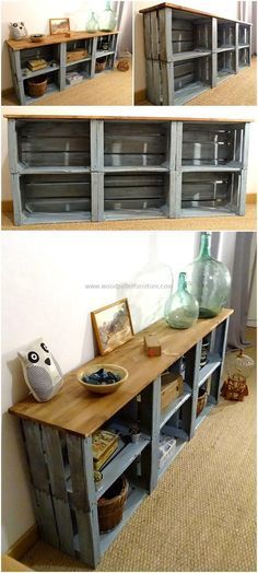 Now craft this awesome wooden pallet entryway table for your home. This project is best to serve in two ways. This pallets plan is a great one for storing your essential items in it and at the same time, the upper shelve is good-enough for the placement of photo frames and other decorating items on it.