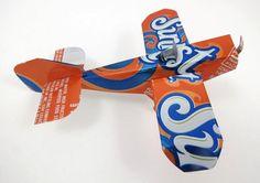 Recycled Soda Can Airplane Sunkist Orange Soda by TwiceBakedArts, $6.00