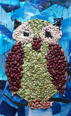 Students in Mrs. Berretta's class used a variety of materials to make this mixed media owl. First, we used dried beans, seads, a small stone...