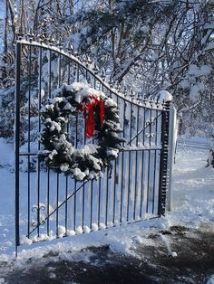 Love the wreath on wrought iron gate