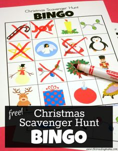 FREE Christmas Scavenger Hunt BINGO Boards ~ add a little twist when you go looking at the lights ~ SIX printable boards with images | This Reading Mama