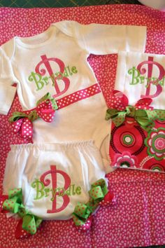 Custom Personalized Monogrammed Onesie, Burp Cloth & Bloomers...Bodysuit Diaper Cover for BaBy GiRl