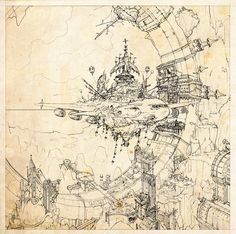 ArtStation - sketches for steam punk city, Ast Ralf                                                                                                                                                      More