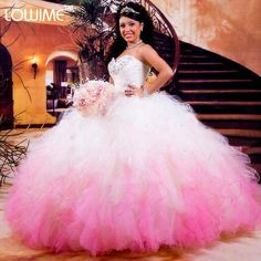 2017 Hot White And Pink Quinceanera Dresses Ball Gown With Beaded Crystals Prom Gown Sweet 16 Dresses Vestidos De 15 Anos QA895