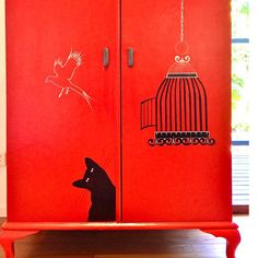 """for sale $490.00  """"Simon & Liberte"""" is a very lovely wardrobe with Queen Anne legs and a very elegant shape. Totally renovated, it's now back to life and it will be a must to have for any cat's lover!"""
