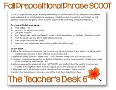 Back to School Product Swap: Fall SCOOT Prepositional Phrases!