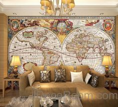 Wallpapers for every personality mr perswall com house ideas vintage hd world map wallpaper wall decals wall art print mural home decor office business indoor gumiabroncs Image collections