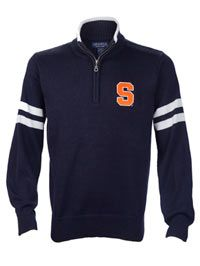 Preppy navy block S quarter-zip sweater by Crable Sportswear, available from Syracuse University bookstore http://bookweb.syr.edu/ePOS?this_category=1156&store=1&item_number=H13095&form=shared3%2fgm%2fdetail%2ehtml&design=1