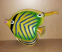 Vintage Kitsch Angel Fish Wall Hanging Tropical Fish Plaque