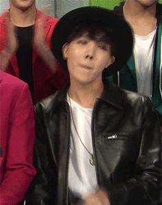 j-hope in that hat and leather jacket with that white t-shirt is LIFE (2/4)