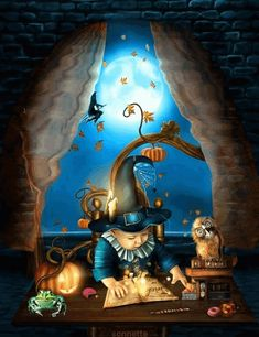 Animated Gif by Marjo Boerstra Fröhliches Halloween, Halloween Images, Photo Background Images, Photo Backgrounds, Optical Illusion Gif, Witch Board, Kobold, Witch Cat, Gif Photo