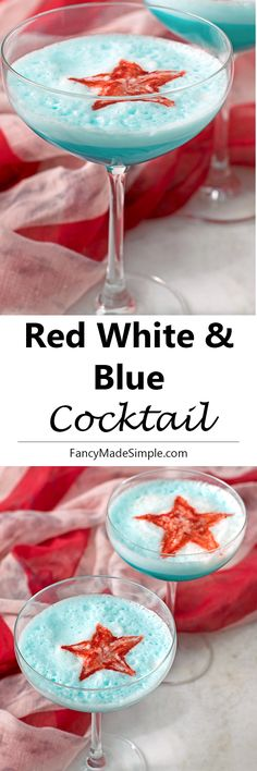 This red white and blue cocktail is the perfect drink to celebrate the fourth of July! With a gin and blue caracao base, this drink is smooth and has a citrus taste. #redwhiteandblue #cocktail #recipes #bluedrink