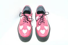 Hot Pink Leather Creepers W/ Glitter Hearts by FeelingVagueVintage