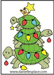 Turtle Christmas Tree Color Sheet from www.daniellesplace.com