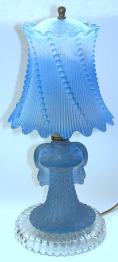Elegant frosted blue glass lamp...