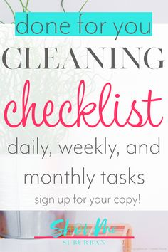 Keep your house clean in just 30 minutes a day with this monthly cleaning checklist! Cleaning your whole home is mapped out for you with daily, weekly, and monthly cleaning tasks. Sign up for your copy today! #printable #cleaning #checklist Daily Cleaning Checklist, Car Cleaning Hacks, Deep Cleaning Tips, Cleaning Fun, Cleaning Solutions, All You Need Is, Washing Soda, Paper Organization, Organizing Ideas