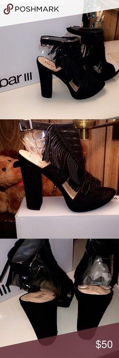 "Nero fringe sandal Round open toe ankle strap sandles 1"" platform 4 3/4"" heel suede upper. Bar III Shoes Ankle Boots & Booties"