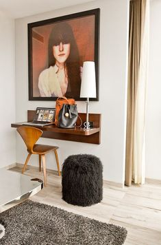 A space-saving desk and a furry pouf at Hotel on Rivington in NYC Space Saving Desk, Desks For Small Spaces, Small Desk Space, Wall Mounted Desk, Table Lamp Wood, Desk With Drawers, Home Office, Office Spaces, Work Spaces