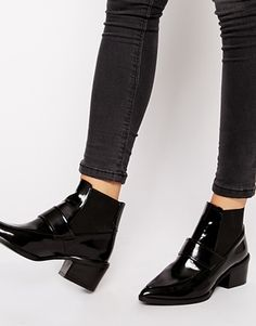 Whistles Riley Pointed Loafer Mid Heeled Ankle Boots