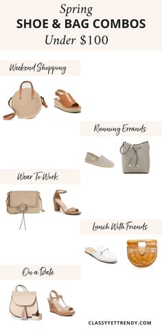 Shoe and Bag Combos For Spring Under $100 - If I had to make a choice on what I liked the most between clothes, shoes or bags, it would have to be bags! Shoes would come in a close 2nd! I love a good quality bag, whether it is a designer one or a budget-friendly one. Do you prefer a neutral timeless, classic handbag?