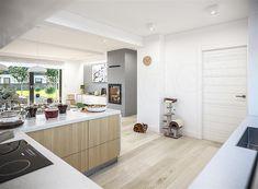 Projekt domu Tracja 3 117,19 m2 - koszt budowy 255 tys. zł - EXTRADOM Kitchen Island, Home Decor, Little Cottages, Island Kitchen, Decoration Home, Room Decor, Home Interior Design, Home Decoration, Interior Design