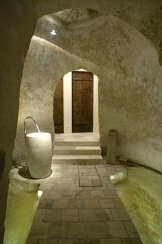 Sink and faucet in the Hotel Corte San Pietro, located in Matera, one of the oldest and most unusual cities in Italy. This hotel is in a cave complex in Italy dating back to the 17th century. Designed by architect Daniel Amoroso. Photo by PierMario Ruggeri.